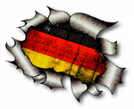 Ripped Torn Metal Design With Germany German Flag GMotif External Vinyl Car Sticker 105x130mm